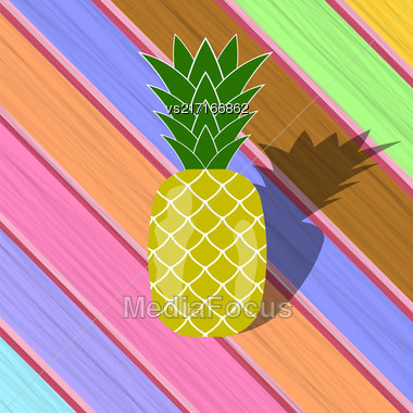Fresh Ripe Pineapple On Colorful Wood Diagonal Planks. Tropical Fruit Background Stock Photo