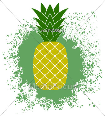 Fresh Ripe Pineapple On Green Splatter. Tropical Fruit Background Stock Photo