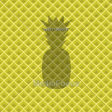 Fresh Ripe Pineapple Pattern. Tropical Fruit Background Stock Photo