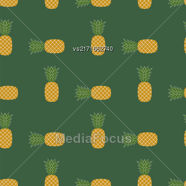 Fresh Ripe Pineapple Seamless Pattern On Green. Tropical Fruit Background Stock Photo