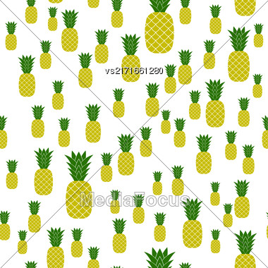 Fresh Ripe Pineapple Seamless Pattern On White. Tropical Fruit Background Stock Photo