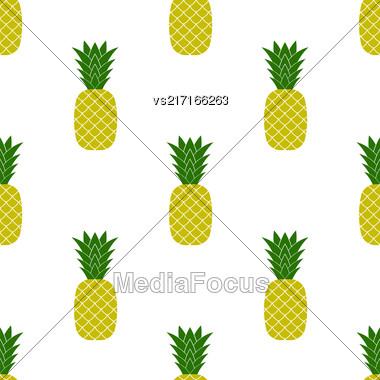 Fresh Ripe Pineapple Seamless Pattern On White. Tropical Fruit Background Stock Photo
