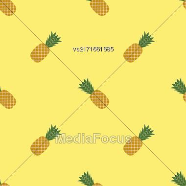 Fresh Ripe Pineapple Seamless Pattern On Yellow. Tropical Fruit Background Stock Photo