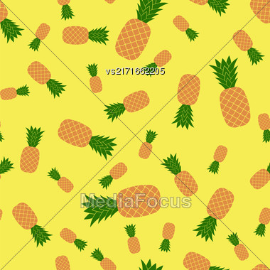 Fresh Ripe Pineapple Seamless Pattern On Yellow. Tropical Fruit Background Stock Photo