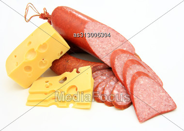 Fresh Sausage With Cheese Stock Photo