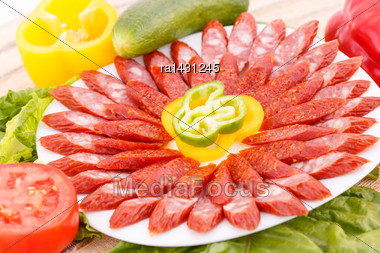Fresh Sausages And Vegetables Closeup Picture Stock Photo