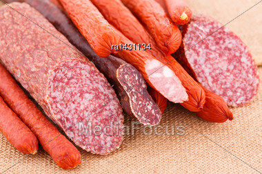 Fresh Sausages On Canvas Background Stock Photo