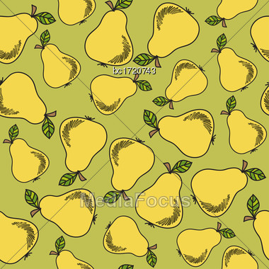 Fresh Seamless Pattern With Pears, Vector Format Stock Photo