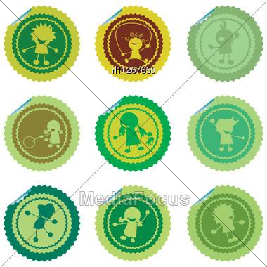 Fresh Set Of Stylized Children Stickers, Green Vectors Stock Photo