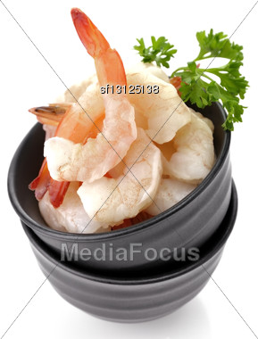 Fresh Shrimps In A Black Dish , Close Up Stock Photo