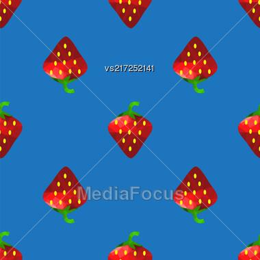 Fresh Strawberry Fruit Seamless Pattern On Blue Background Stock Photo