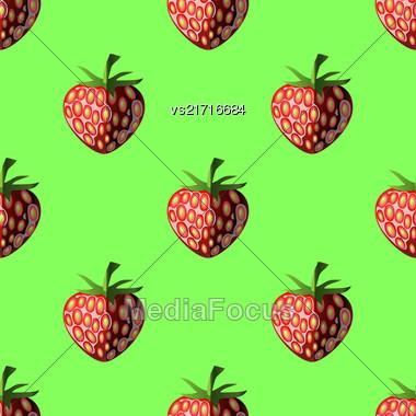 Fresh Strawberry Fruit Seamless Pattern On Green Stock Photo
