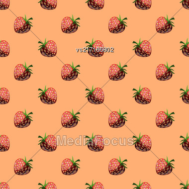 Fresh Strawberry Fruit Seamless Pattern On Orange Stock Photo