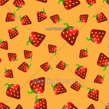 Fresh Strawberry Fruit Seamless Pattern On Orange Background Stock Photo