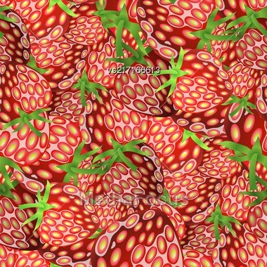 Fresh Strawberry Fruit Seamless Pattern. Sweet Dessert Background Stock Photo