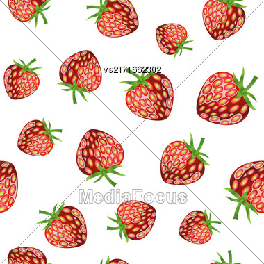 Fresh Strawberry Fruit Seamless Pattern On White Background Stock Photo
