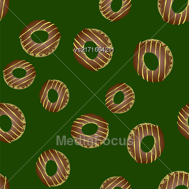 Fresh Sweet Donuts Seamless Pattern On Green Background. Delicios Tasty Glazed Donut. Cream Yummy Cookie Stock Photo
