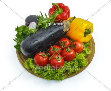 Fresh Vegetables On A Sheet Of White Plastic, Close-up Stock Photo