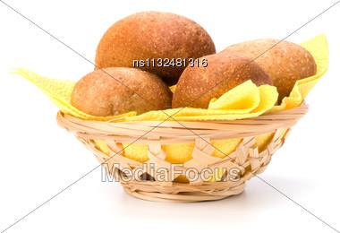 Fresh Warm Rolls In Breadbasket Isolated On White Background Stock Photo