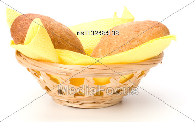 Fresh Warm Rolls In Breadbasket Isolated On White Background Stock Photo