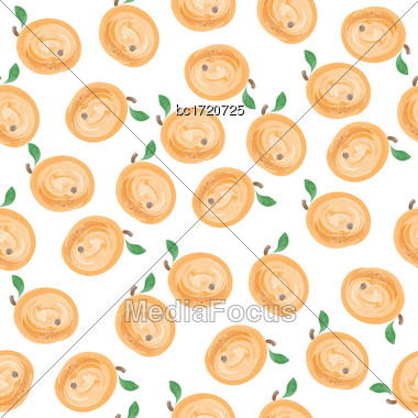Fresh Watercolor Seamless Pattern With Apricots, Vector Format Stock Photo