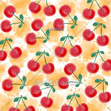 Fresh Watercolor Summer Background With Cherries, Vector Format Stock Photo