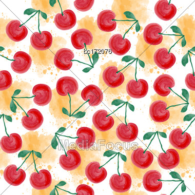 Fresh Watercolor Summer Pattern With Cherries, Vector Format Stock Photo