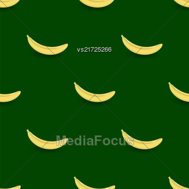 Fresh Yellow Bananes Seamless Pattern On Green Background Stock Photo
