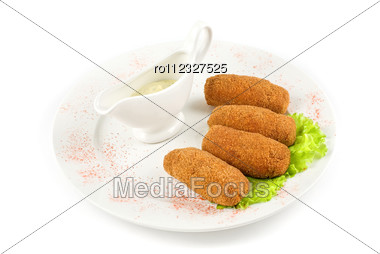 Fried Cheese With Bacon At Plate With Lettuce And Sauce On A White Stock Photo