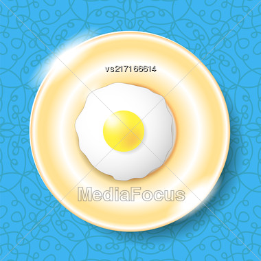 Fried Egg Icon Isolated On Blue Ornamental Background. Top View Stock Photo