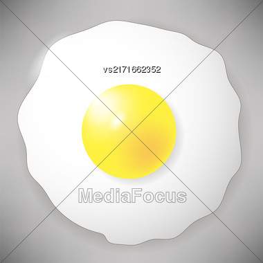 Fried Egg Icon Isolated On Grey Background. Top View Stock Photo