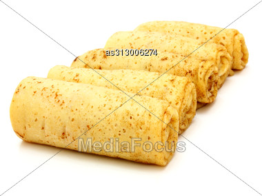 Fried Pancakes Stuffed Isolated On The Plate Stock Photo