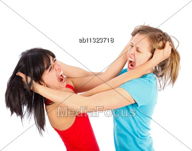 Friends Having A Fight And Tearing Each Others' Hair Stock Photo