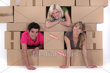 Friends Moving Out Stock Photo