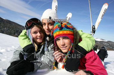 Friends On A Skiing Holiday Together Stock Photo