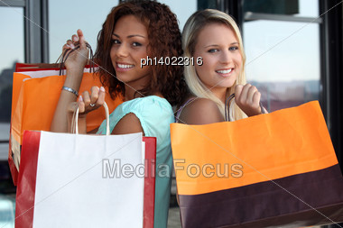 Friends Shopping Together Stock Photo
