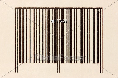 Front View Of Simple Black Barcode, Tag For Products Stock Photo