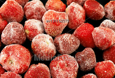 Frozen Strawberries, On Black Background Stock Photo
