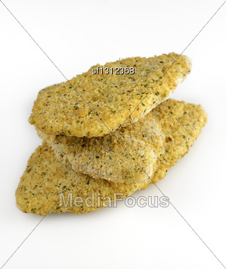 Frozen Tilapia Fillets With Parmesan Cheese Stock Photo