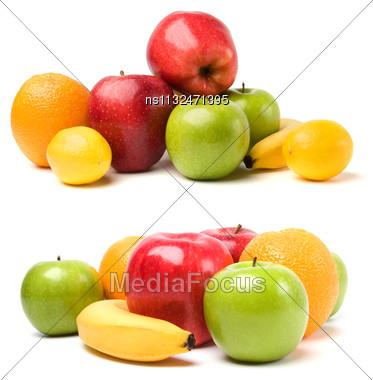 Fruits Isolated On White Background Stock Photo