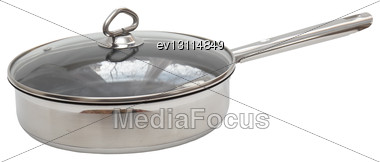 Frying Pan, Which Made Of Stainless Steel. Isolated Over White Stock Photo