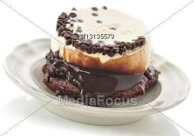 Fudge Brownie With Ice Cream Stock Photo