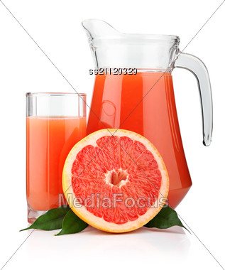 Full Glass And Jug Of Grapefruit Juice And Fruits Stock Photo