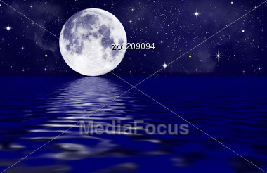 Full Moon Image With Water. Stock Photo