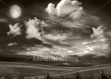 Full Moon Over A Night Glade Stock Photo