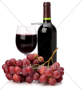 Full Red Wine Glass Goblet, Bottle And Grapes Isolated On White Background Stock Photo