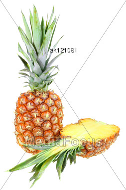 Full And Slice Of Fresh Pineapple Close-up Studio Photography Stock Photo