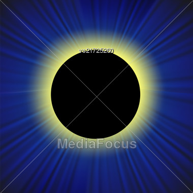 Full Solar Eclipse On Blurred Blue Background Stock Photo