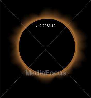 Full Solar Eclipse Isolated On Black Background Stock Photo