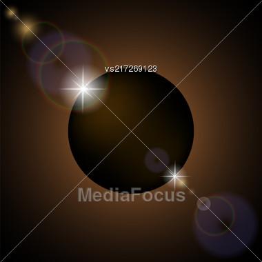 Full Solar Eclipse Isolated On Black Background Stock Photo